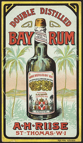 « Double distilled bay rum front » par Boston Public Library — Flickr: Double distilled bay rum [front]. Sous licence Domaine public via Wikimedia Commons - http://commons.wikimedia.org/wiki/File:Double_distilled_bay_rum_front.jpg#/media/File:Double_distilled_bay_rum_front.jpg