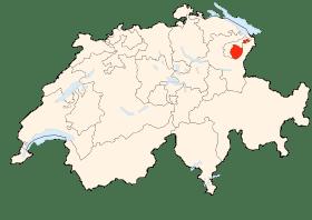 Carte d'Appenzell Rhodes-Interieur