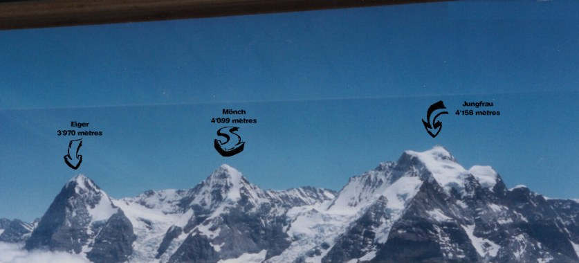 Vue de l'Eiger, le Mönch et la Jungfrau depuis le Schilthorn