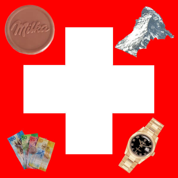 Le drapeau Suisse avec les stéréotypes
