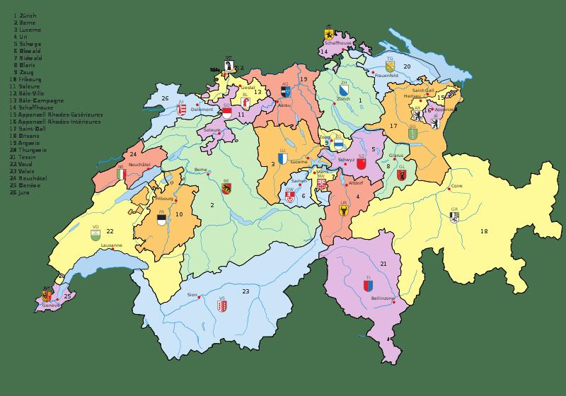 Carte des cantons suisse