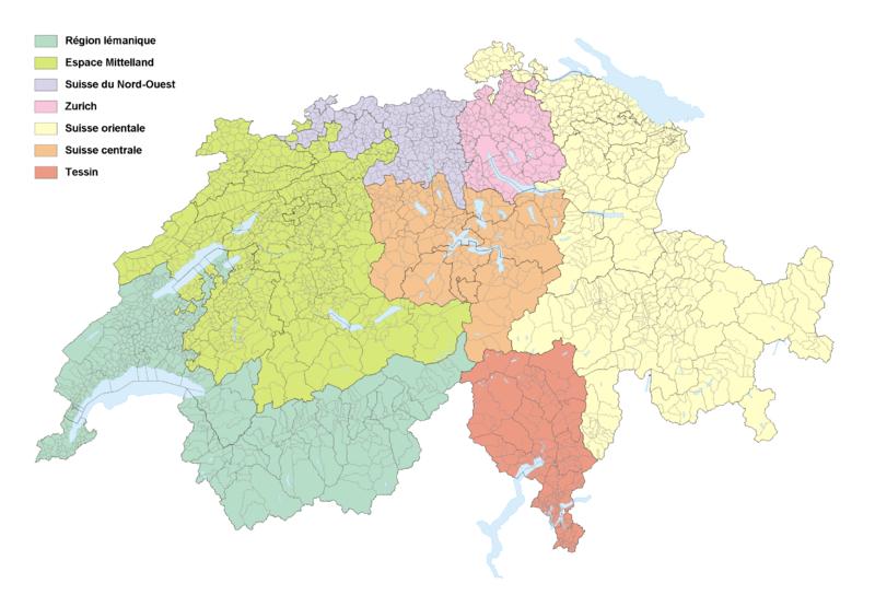 Carte des grandes régions en Suisse