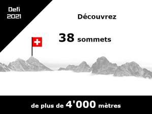 Mon nouveau défi pour 2021 - Découvrez 1 sommet de plus de 4'000 mètres d'altitude par semaine sur 38 semaines