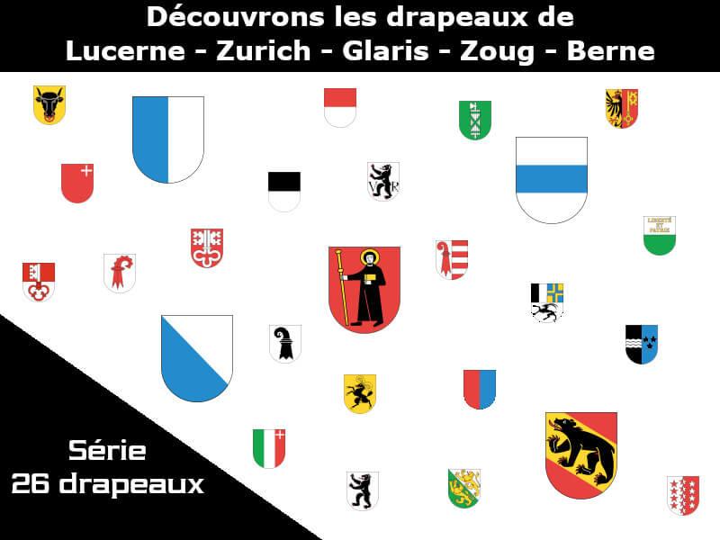 Vignette - Les drapeaux des cantons de Lucerne - Zurich - Glaris - Zoug - Berne