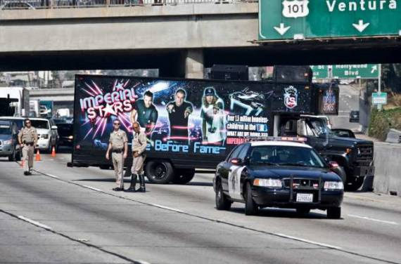 Charges pending for hip-hop band that blocked 101 Freeway.  (LAT)