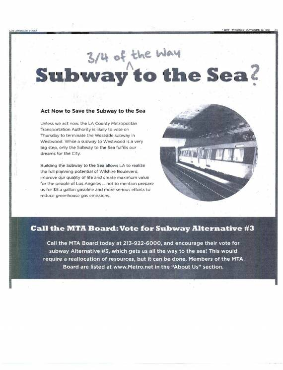 Subway to the Sea ad from yesterday's Times.  Image via ##http://thesource.metro.net/wp-content/uploads/2010/10/subad1.jpg##The Source##