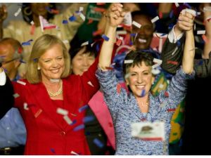 Whitman, Fiorina, confetti.  Photo: OC Register