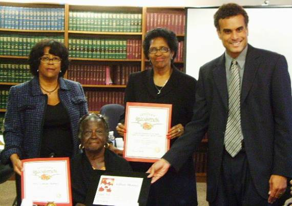City Councilmember Jan Perry, Lillian Mobley, Pat Jones, Vice Chair of the South Los Angeles Client Advisory Council and Legal Aid Foundation Managing Attorney D. Malcolm Carson.