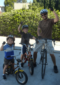 Ed and his sons prepare for CicLAvia.  10/10/10 was Ed's first time back on the bike after a hit and run crash last January.