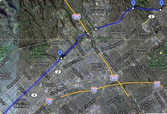 The blue represents the areas that community leaders want excluded from the Wilshire Bus Only Lanes project.