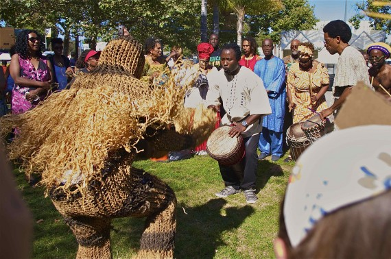 Dancers and drummers at the Festival of Ancestors in Leimert Park. Sahra Sulaiman/Streetsblog L.A.