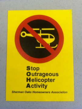 Sherman Oaks Homeowners Association gave out these stickers at the helicopter activity town hall meeting yesterday. Kris Fortin/LAStreetsblog