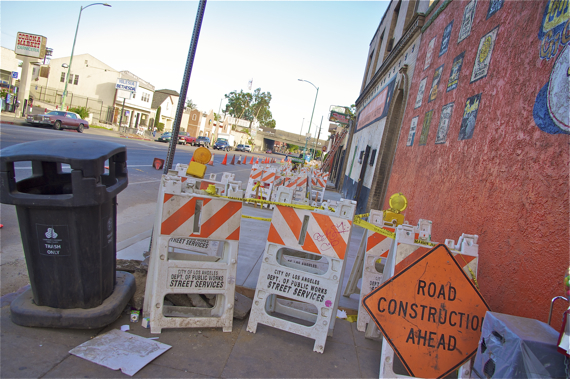 Sidewalk improvements are underway along 1st St. Sahra Sulaiman/LA Streetsblog