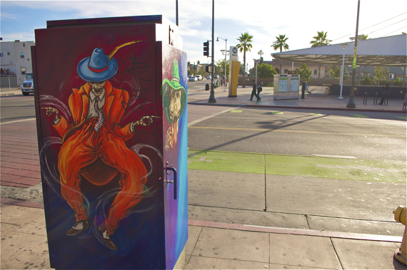 Carlos Callejo's colorful piece greets you at the Soto station. Sahra Sulaiman/LA Streetsblog