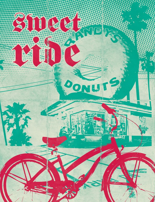 Artist: Dennis Bredow. Image via:##http://usa.streetsblog.org/2013/11/12/the-remarkable-success-of-the-indianapolis-cultural-trail/##Biking in L.A.##