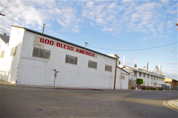 """God Bless America""? Really, Exide? Folks might feel a little more blessed if they weren't showered in lead and arsenic. I'm just sayin'... Sahra Sulaiman/LA Streetsblog"