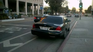 PAC- and just outside--LAPD car parks on bike lane--of course