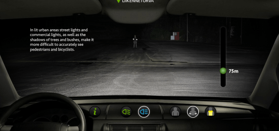 Screen shot of Liikenneturva webpage, where you can get a look at how well drivers can see you at night from various distances. http://extrat.liikenneturva.fi/heijastin/en/