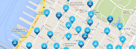 NYC Citibike stations are located every few blocks in lower Manhattan