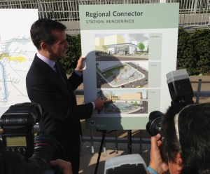 Mayor Garcetti expresses his enthusiasm for the Regional Connector subway