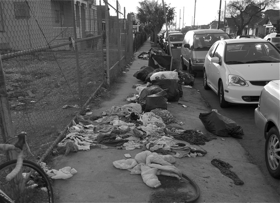 What remains of the garbage bags at 41st and Main. Sahra Sulaiman/LA Streetsblog