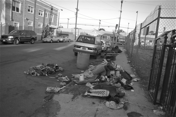 What remains of the garbage bags left at the corner of 41st and Main. Sahra Sulaiman/LA Streetsblog