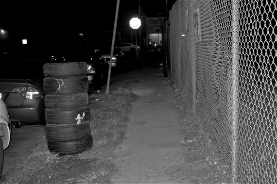 The tires were left neatly stacked, and two more may have been added to the pile since BSS cleaned up the area. Sahra Sulaiman/LA Streetsblog