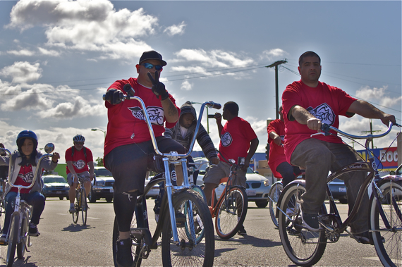 """Javier """"JP"""" Partida and his brother, Miguel, of Los Ryderz join in the Ride4Love. Sahra Sulaiman/LA Streetsblog"""