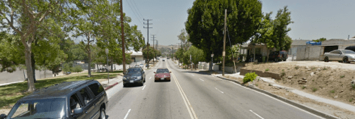A shot of broken sidewalks on the east side of Soto and semi-existent ones on the west side. (Google maps screen shot)