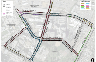 Streets slated for enhancement around the USC Campus near Hazard Park.