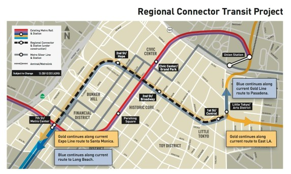 Regional Connector map - courtesy of Metro