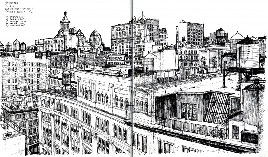 Drawing of New York City from roooftop, 2013