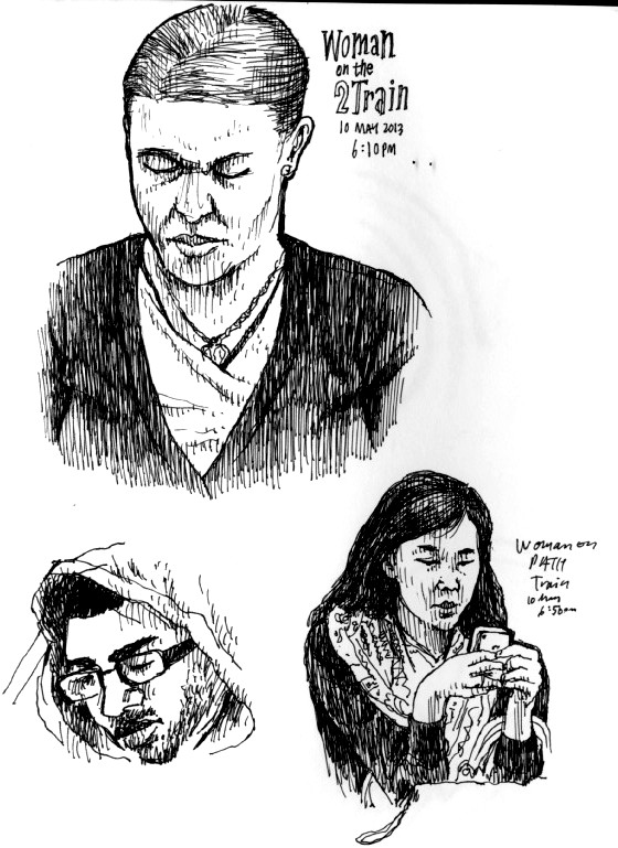 Sketches of people on the 2 Train, 2013