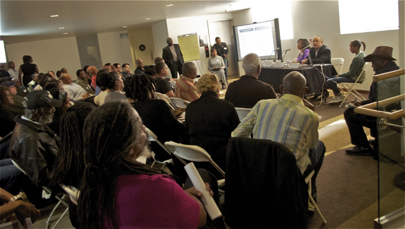 The Re-Branding/Marketing panel at the Leimert Design Charrette featuring Armen Ross (President, Crenshaw Chamber of Commerce), Jan Perry (General Manager, EDD), and Darrell Brown (Senior Vice President Consumer Banking, US Bank). Sahra Sulaiman/LA Streetsblog