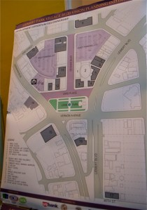 The heart of Leimert Park Village, the proposed Metro station site, and sites owned by community members. The pop-up plaza will be set up at the corner of 43rd Pl. and Leimert Blvd. Sahra Sulaiman/LA Streetsblog