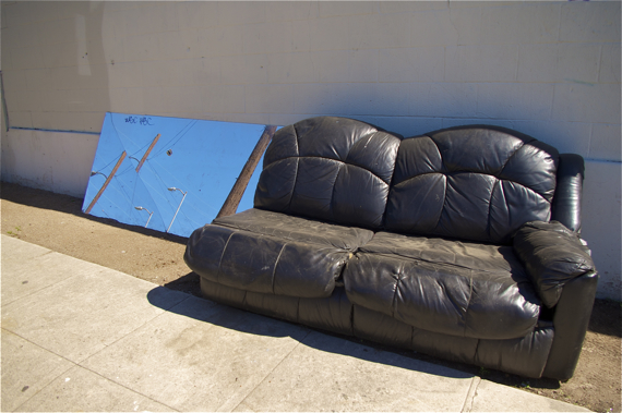 Complete Streets should also encompass clean streets. Couch on Rivera St. (just off 1st), a frequent dumping site. Sahra Sulaiman/LA Streetsblog