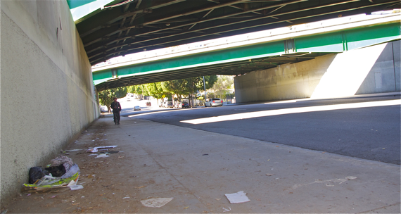 Trash accumulates under an underpass along Whittier Blvd. Sahra Sulaiman/LA Streetsblog