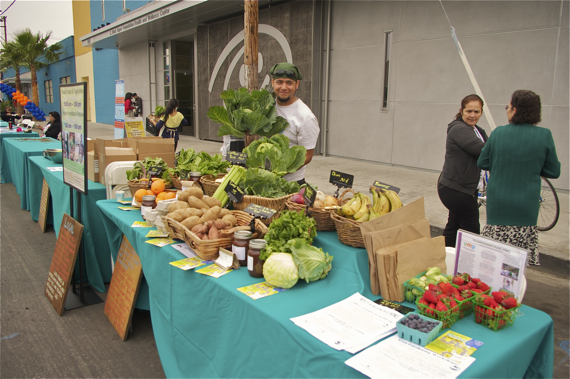 Community Services Unlimited offers fresh produce at St. John's every Monday from 10 a.m. to 1 p.m. Sahra Sulaiman/LA Streetsblog