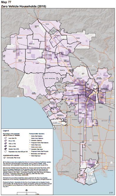 From the Plan for a Healthy Los Angeles Health Atlas, map of zero vehicle households - click to go to health atlas website