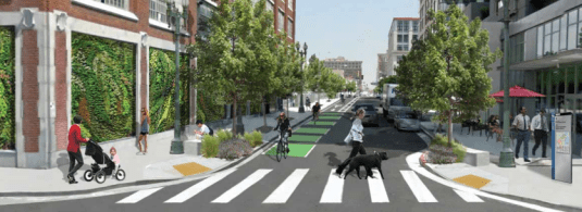MyFigueroa planned improvements on 11th Street leading to Figueroa Street. Image from MyFigueroa website