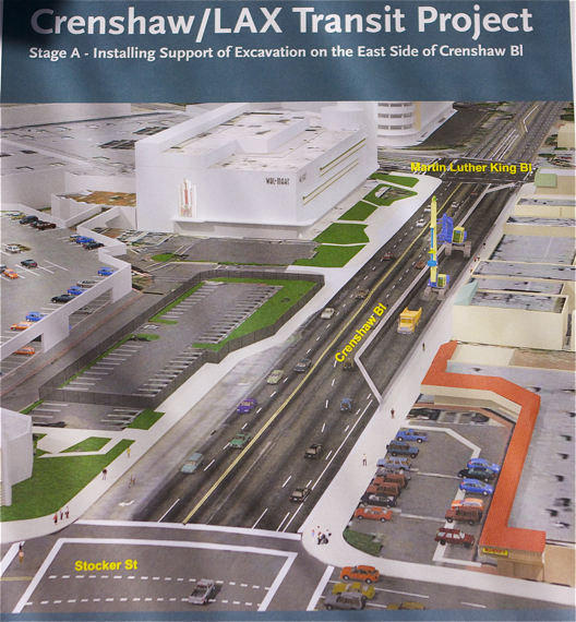 The projected reconfigured section of Crenshaw. Sahra Sulaiman/LA Streetsblog