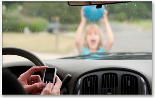 Driver-Texting-While-A-Child-walks