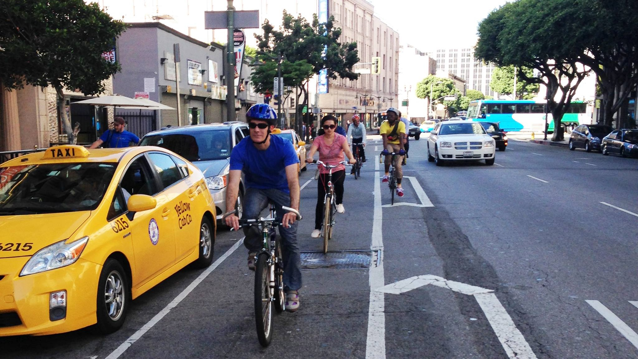 Los Angeles Mayor Eric Garcetti biked to work yesterday morning. Photo via Mayor Garcetti Facebook page