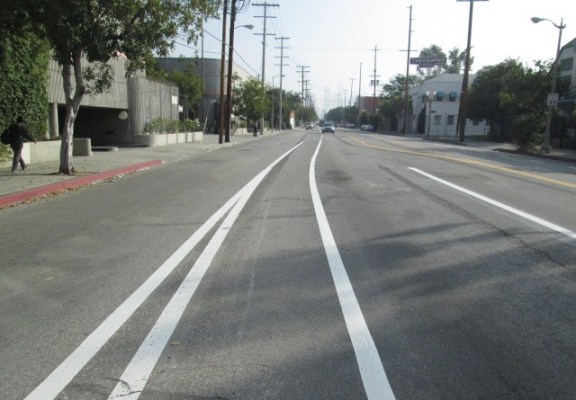 Another shot of the Grand Avenue bike lanes. Photo: Ryan Johnson