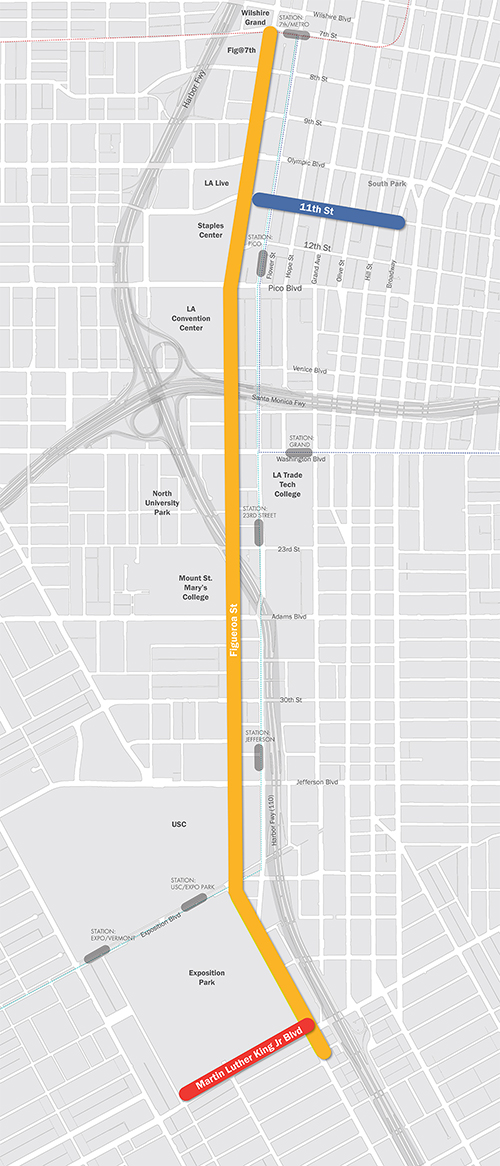 The MyFigueroa project includes three interconnected streets: