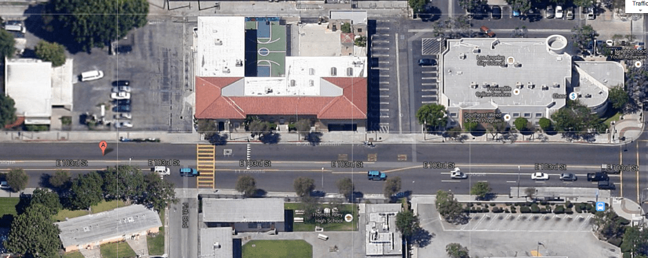 The rec center (old library) is at left. The YO! Watts building is at center, left (the right portion of the building is a boarded up firehouse). At right is the Chase Bank Bldg., where the councilman's current office is located. (Google maps)