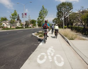 Temple City's new Rosemead Blvd protected bikeway. Photo: CICLE/Serena Grace