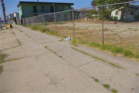 A home that may or may not be abandoned and uncared for lot attract a lot of illicit activity, judging by the used condoms and condom boxes laying around the property. Sahra Sulaiman/Streetsblog LA