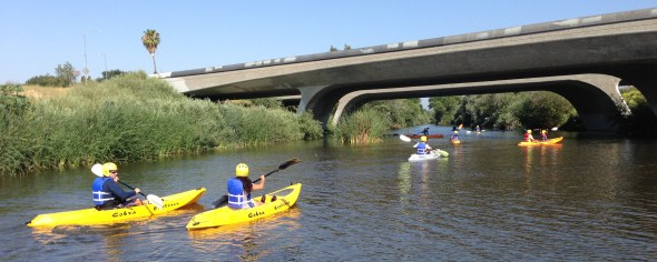 Experience the greenest stretch of the Los Angeles River this Summer. LACC leads kayakers under the Bubank Boulevard Bridge, in the San Fernando Valley. All photos: Joe Linton/Streetsblog L.A.