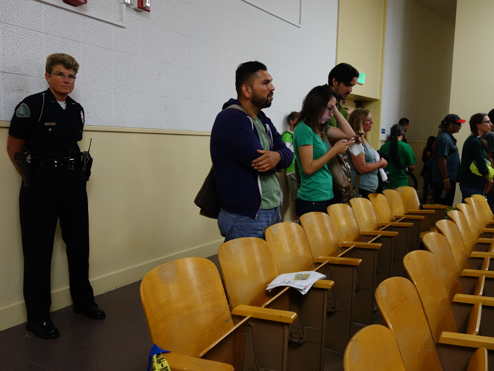 #fig4all supporters standing in the back while LAPD office keeps a watchful eye Photo by Erick Huerta